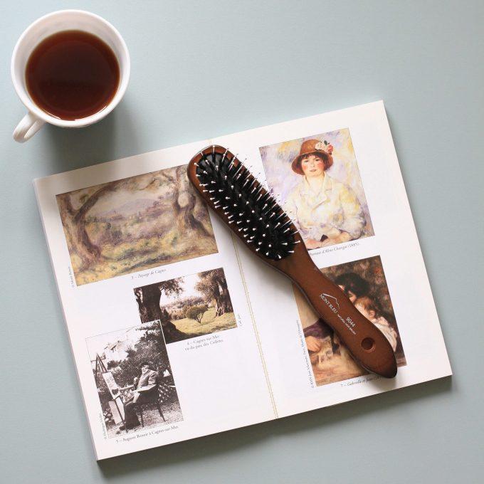 Mont Bleu Wood Hair Brush with Boar Bristles and Swarovski Crystals - Corals