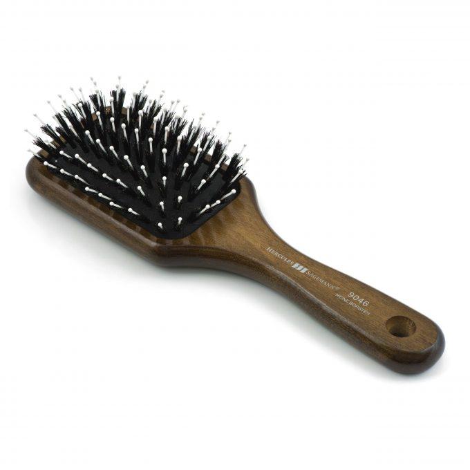 Mont Bleu Wood Hair Brush with Boar Bristles and Swarovski Crystals - Ying and Yang