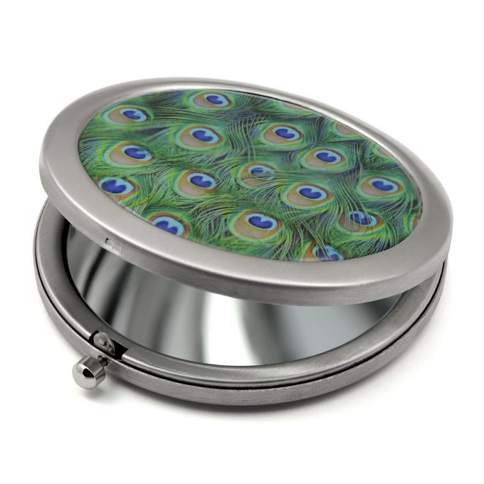 Peacock Feathers Compact Mirror