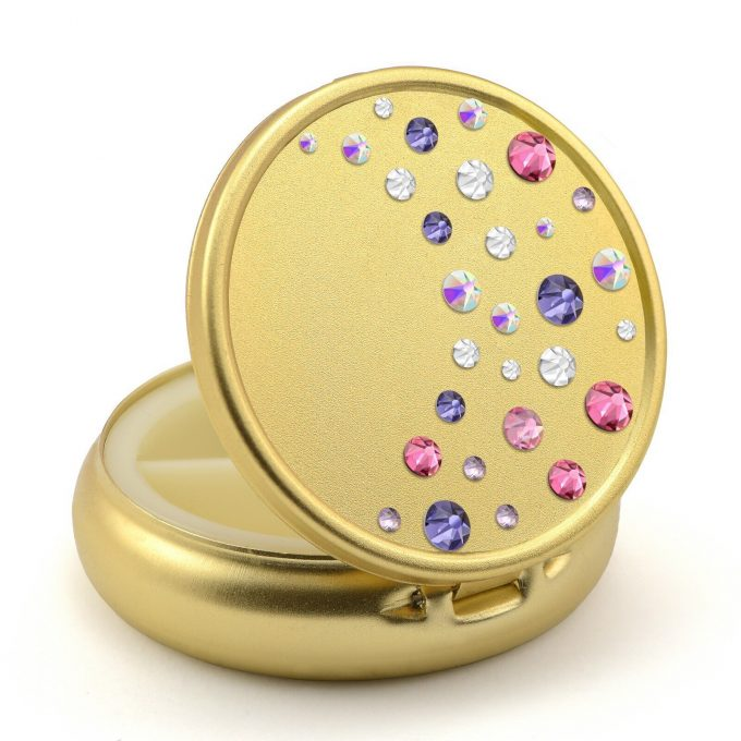 Pill Box in Gold Color with Swarovski Crystals Waterfall Design