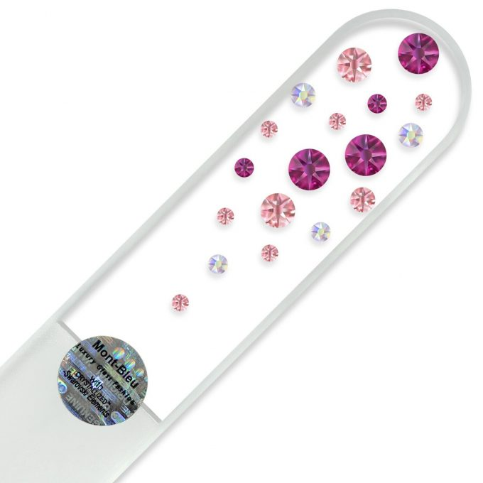Mont Bleu Large Glass Nail File with crystals W-B