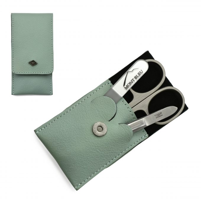 Giesen & Forsthoff's Timor 3-piece Manicure Set in Mint Green Leather Case