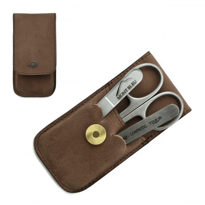 Giesen & Forsthoff's Timor 3-piece Manicure Set in Natural Oiled Leather Case with Vintage look