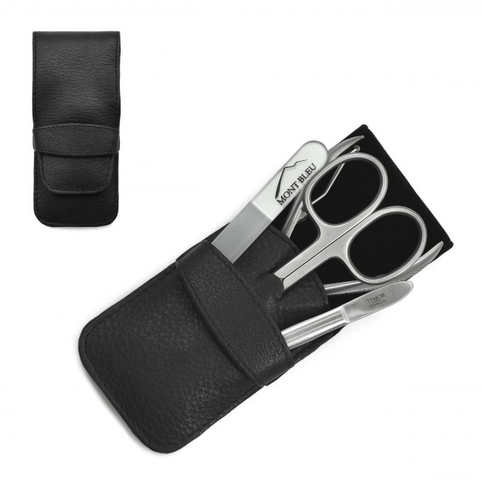 Giesen & Forsthoff's Timor 4-piece Gents' Manicure Set with Nail Pliers in Black Leather Case