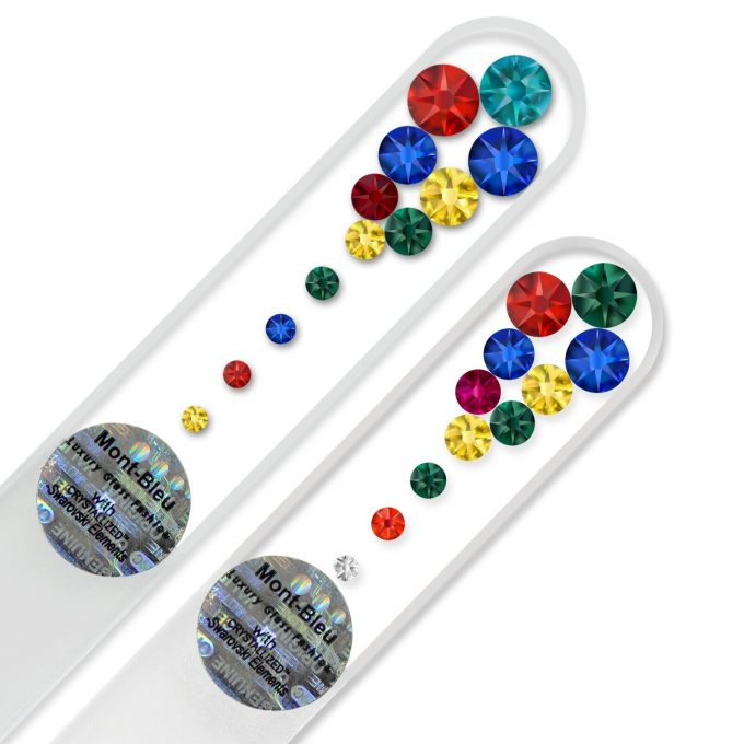 A set of 2 Marbles Glass Nail Files with Swarovski crystals M-MS