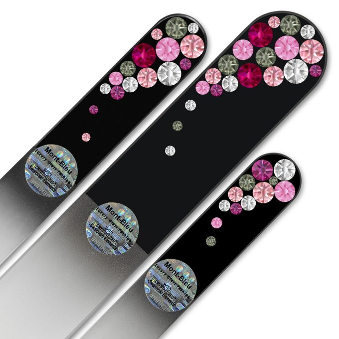 Set of 3 Czech Black Glass Nail Files with crystals BB-BMS