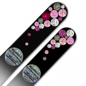 Set of 2 Czech Black Glass Nail Files with crystals BB-MS