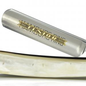 "Giesen & Forsthoff's Timor Hamburg Ring 5/8"" Straight Razor with Real Horn Handle"