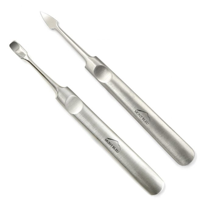Mont Bleu Set of 2 Manicure Tools: Nail Cleaner & Cuticle Pusher made of Stainless Steel, hand finished in Solingen