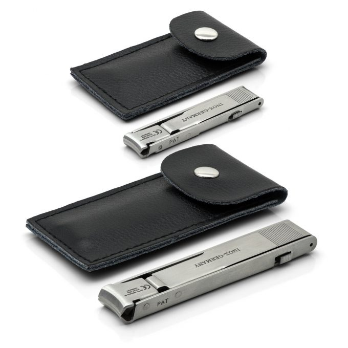 Otto Herder Set of 2 Folding Travel Nail Clippers, Stainless Steel, made in Germany