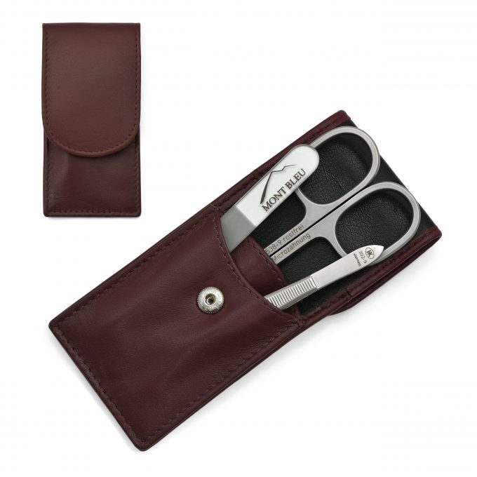 Hans Kniebes 3-piece Manicure Set in Nappa Leather Case, Made in Germany