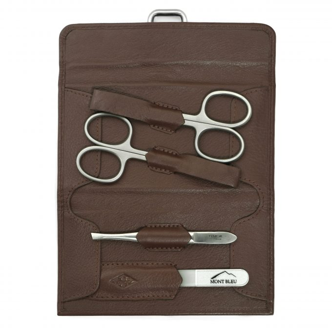 Giesen & Forsthoff's Timor 4-piece Manicure Set in Natural Oiled Leather Case with Vintage look