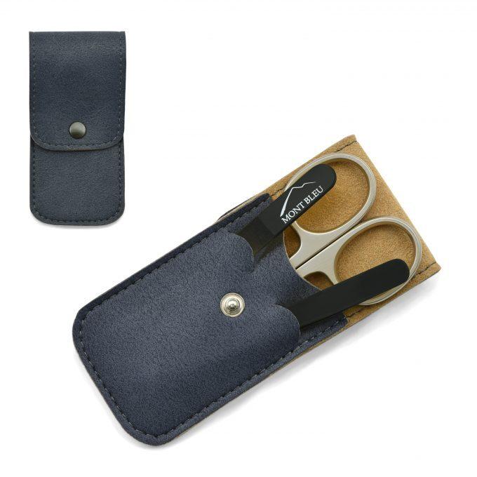Mont Bleu 3-częściowy zestaw do manicure w miękkim etui ze sztucznej skóry