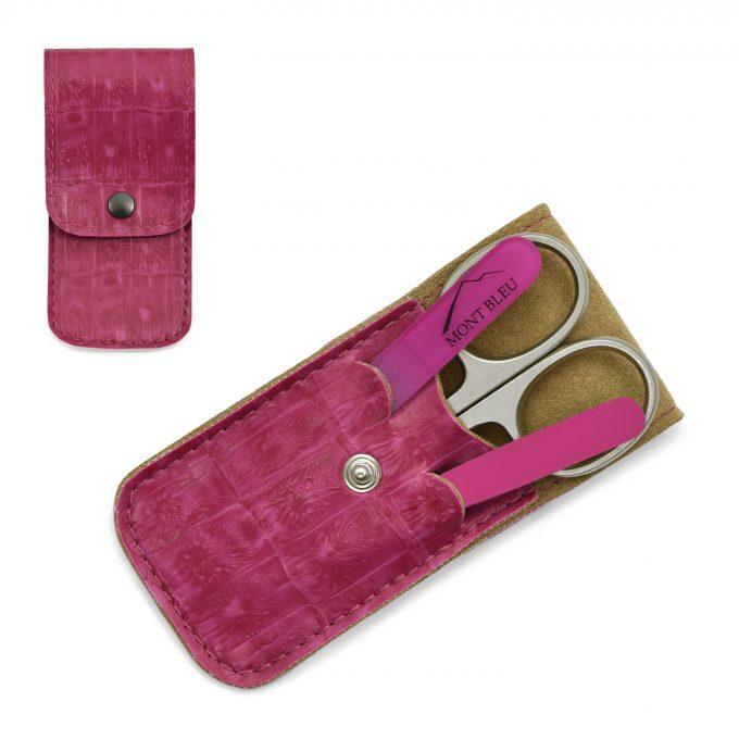Mont Bleu 3-częściowy zestaw do manicure w etui ze sztucznej skóry, różowy