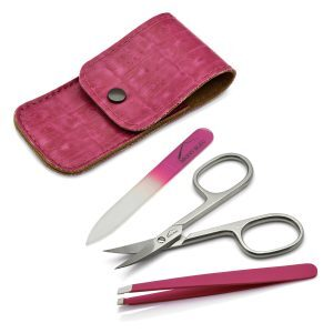 Mont Bleu 3-piece Manicure Set in Leatherette Case, Pink