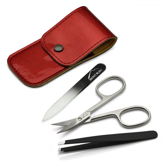 Mont Bleu 3-piece Manicure Set in Leatherette Case, Red