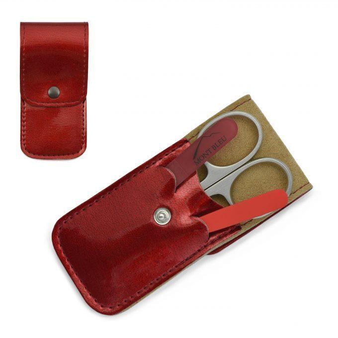 Mont Bleu 3-częściowy zestaw do manicure w etui ze sztucznej skóry, czerwony