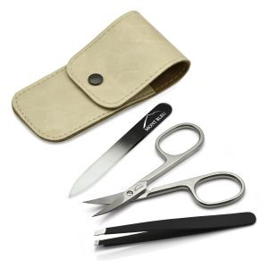 Mont Bleu 3-piece Manicure Set in Leatherette Case, Beige 'Anna'