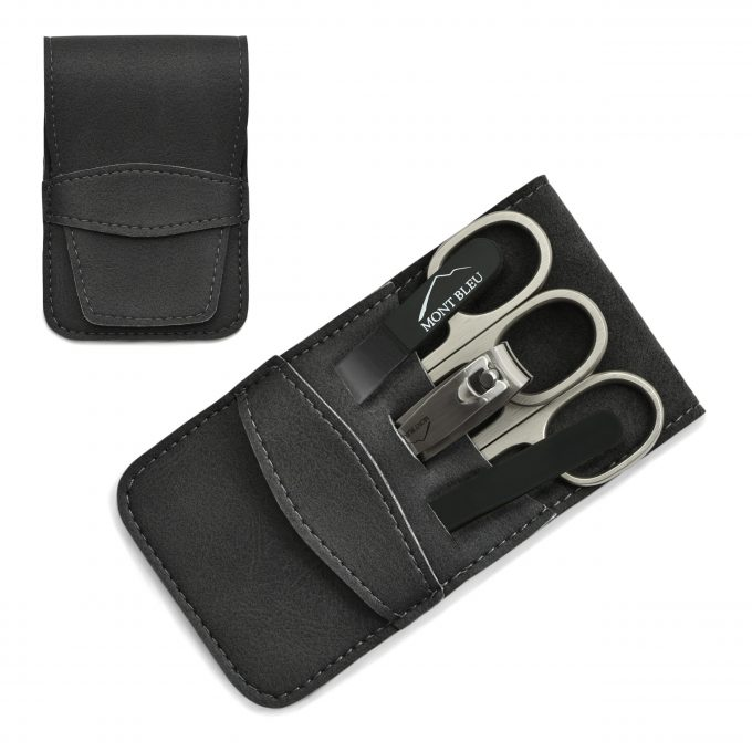 Mont Bleu 5-piece Manicure Set in Vegan Faux Leather Case, Blue