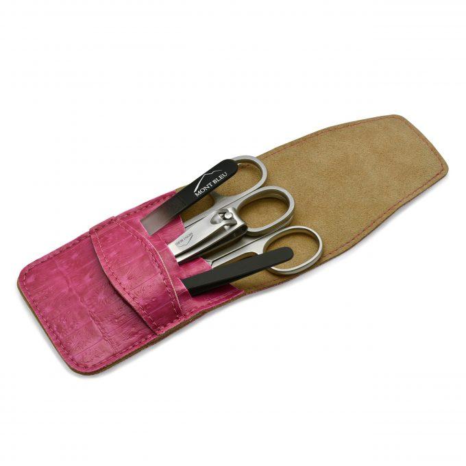 Mont Bleu 5-piece Manicure Set in Vegan Faux Leather Case, Pink