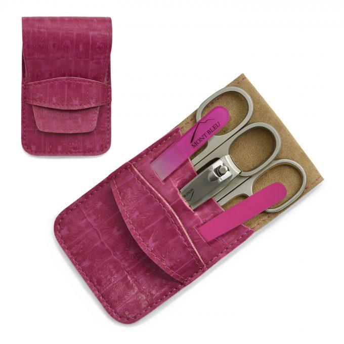 Mont Bleu 5-częściowy zestaw do manicure w wegańskim etui ze sztucznej skóry, różowy