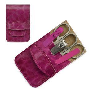 Mont Bleu 5-piece Manicure Set in Vegan Faux Leather Case, Fuchsia