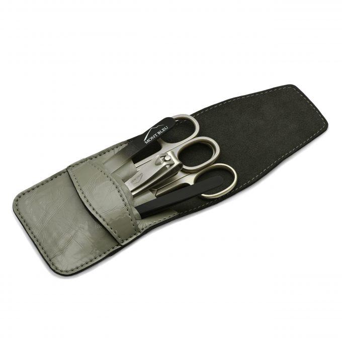 Mont Bleu 5-piece Manicure Set in Vegan Faux Leather Case, Gray