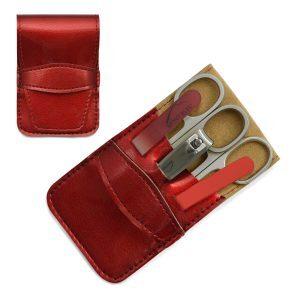 Mont Bleu 5-piece Manicure Set in Vegan Faux Leather Case, Red