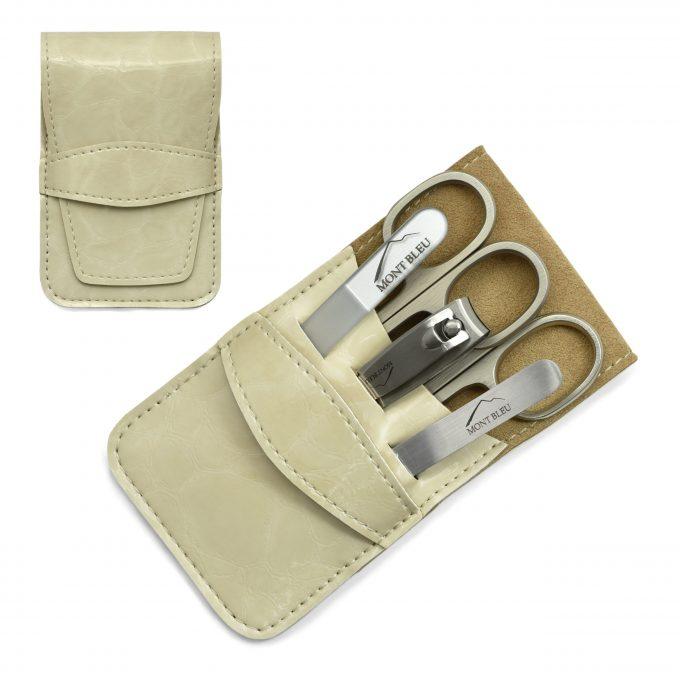 Mont Bleu 5-piece Manicure Set in Vegan Faux Leather Case, Beige 'Anna'