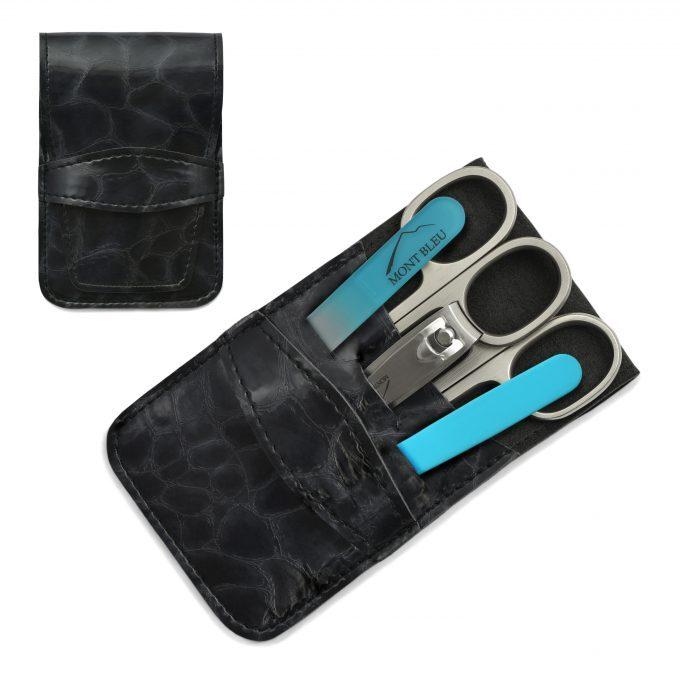 Mont Bleu 5-częściowy zestaw do manicure w wegańskim etui ze sztucznej skóry, czarny 'Anna'