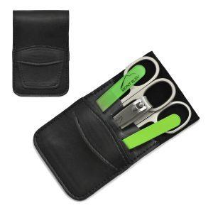 Mont Bleu 5-piece Manicure Set in Vegan Faux Leather Case, Simple Black