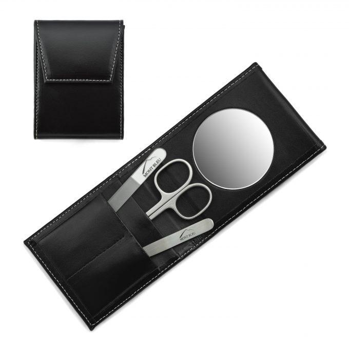 Mont Bleu 3-częściowy zestaw do manicure w czarnym skórzanym etui premium z lusterkiem i kryształowym pilnikiem