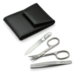 Mont Bleu 3-piece Manicure Set in a Premium Black Leather Case with Mirror & Crystal Nail File