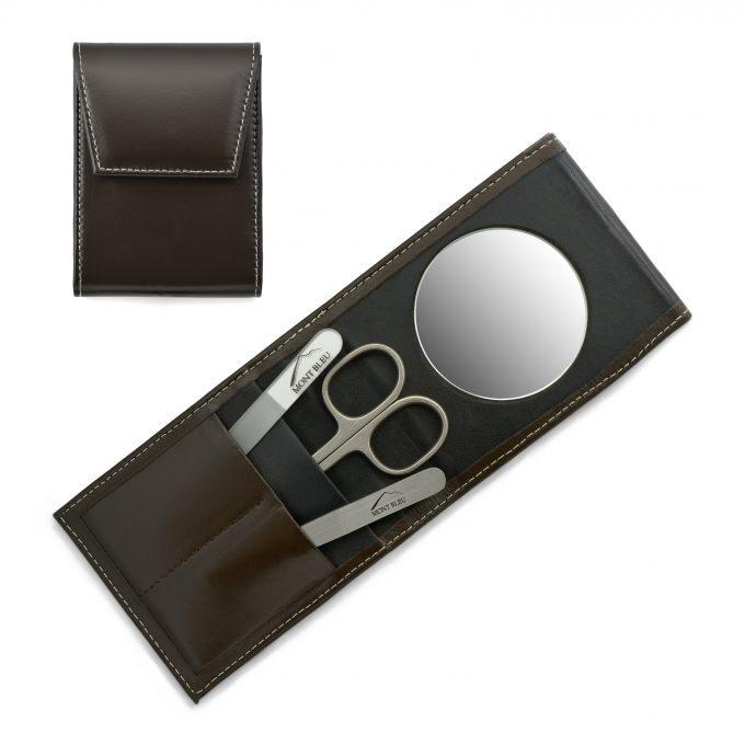 Mont Bleu 3-częściowy zestaw do manicure w skórzanym etui Premium Umber Brown z lusterkiem i kryształowym pilnikiem do paznokci