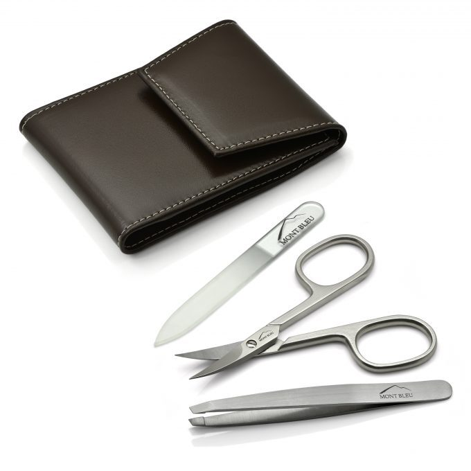 Mont Bleu 3-piece Manicure Set in a Premium Umber Brown Leather Case with Mirror & Crystal Nail File
