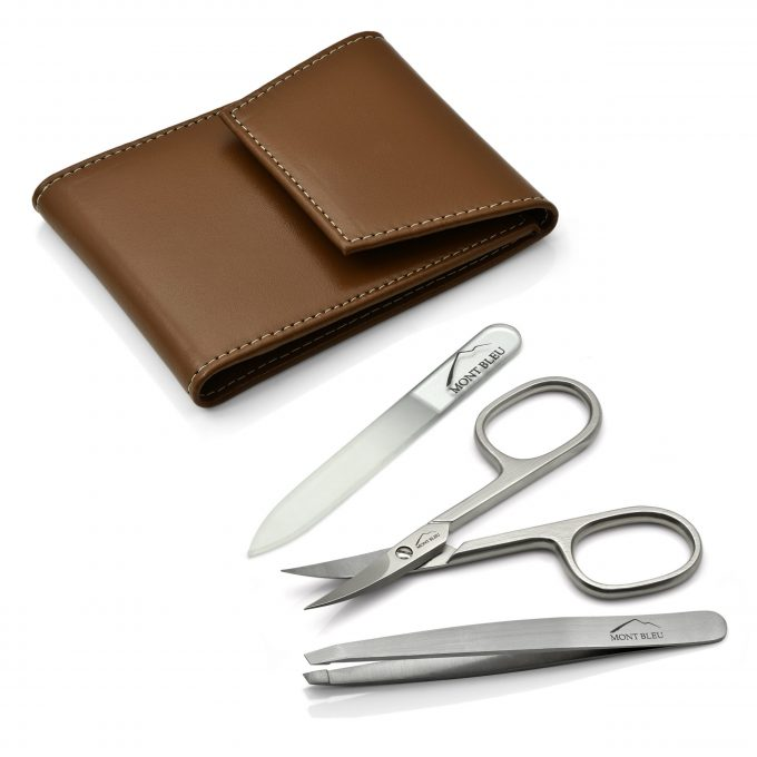 Mont Bleu 3-piece Manicure Set in a Premium Light Brown Leather Case with Mirror & Crystal Nail File