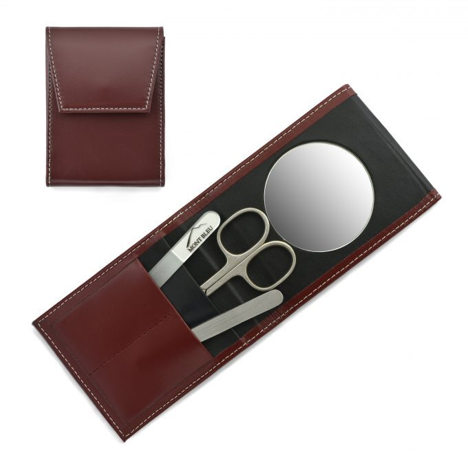 Mont Bleu 3-piece Manicure Set in a Premium Red Leather Case with Mirror & Crystal Nail File