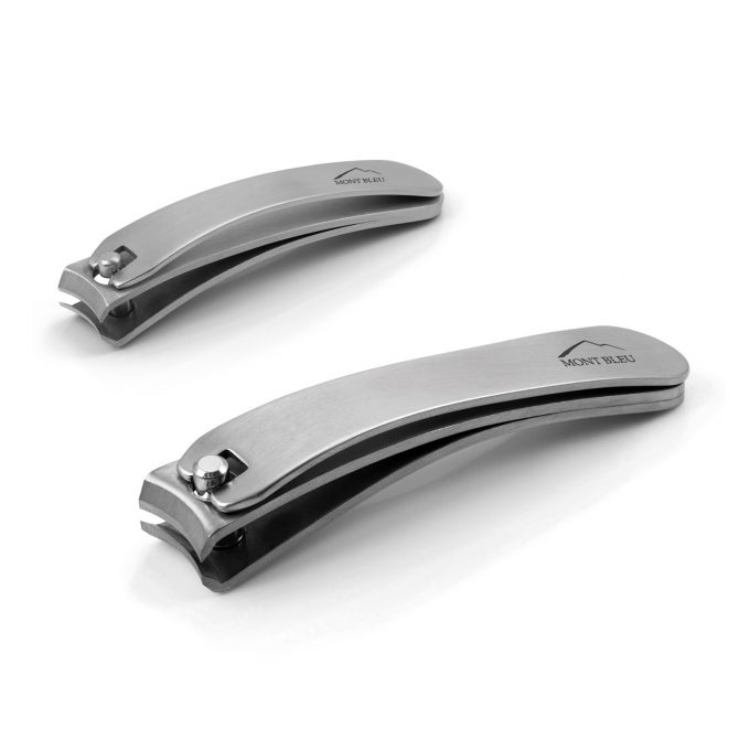 Mont Bleu Set of 2 Bent Nail Clippers, Stainless Steel
