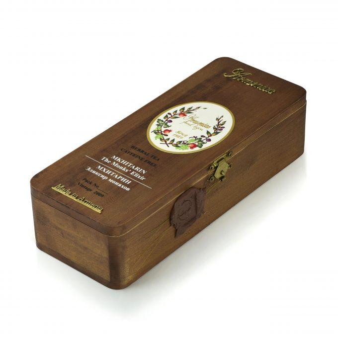 Armeniac Mkhitarin – 100% Natural Wild Crafted Loose Leaf Herbal Tea in a Wooden Box, 50 g
