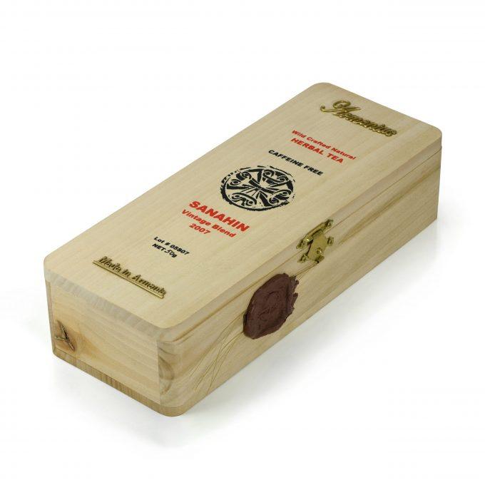 Armeniac Sanahin – 100% Natural Wild Crafted Loose Leaf Herbal Tea in a Wooden Box, 50 g