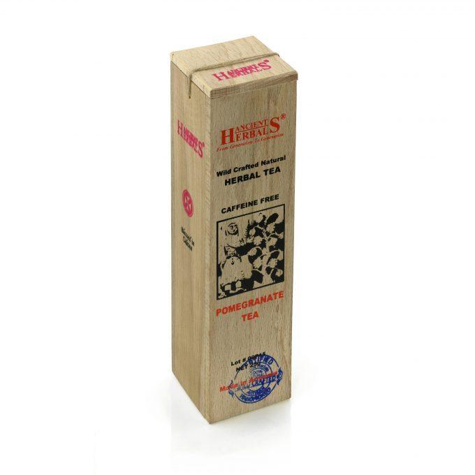 Ancient Herbals Napar z granatu – 100% naturalna, dzika, sypana herbata ziołowa w drewnianym pudełku, 25 g