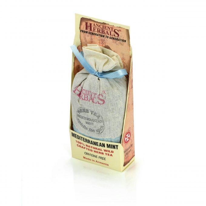 Ancient Herbals Mediterranean Mint – 100% Natural Wild Crafted Loose Leaf Herbal Tea in a Cotton Bag, 50 g